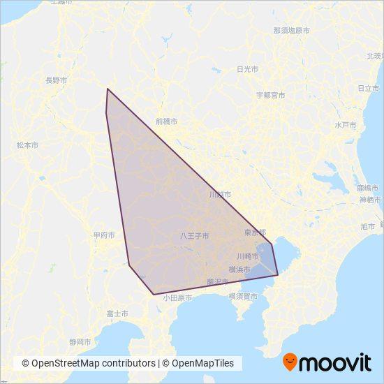 Tokyu Bus線路的覆蓋範圍