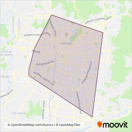 Metro de Santiago coverage area map