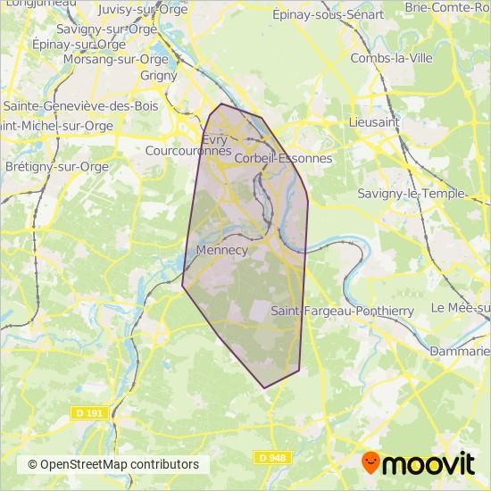 Carte de la zone de couverture de Trans'Essonne