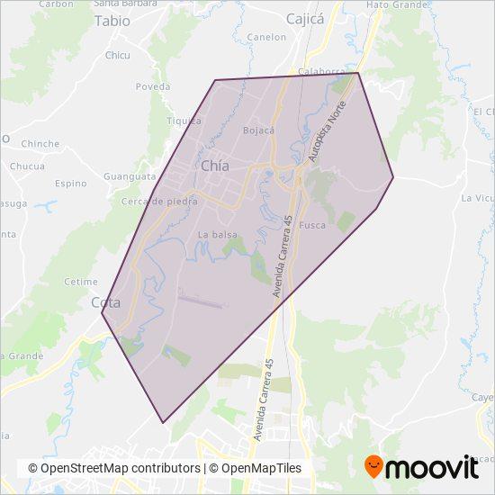 Mapa del área de cobertura de Auto Servicio LTDA