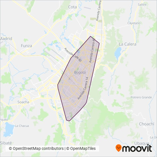 Mapa del área de cobertura de Buses Complementarios