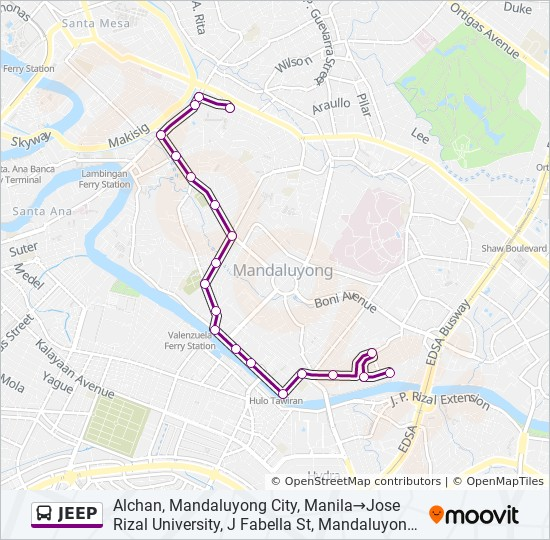 Jeep Route Time Schedules Stops Maps Alchan Mandaluyong City