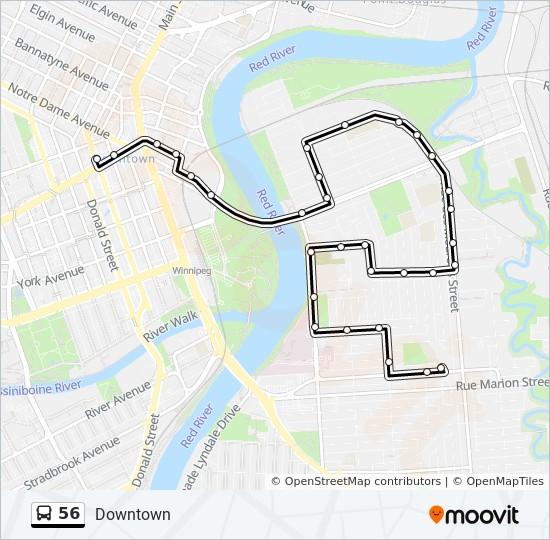 University Of Winnipeg Map 56 Route: Time Schedules, Stops & Maps   University Of Winnipeg