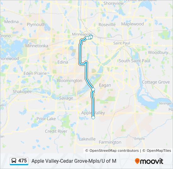 U Of Minnesota Map.475 Route Time Schedules Stops Maps 475u U Of Minnesota