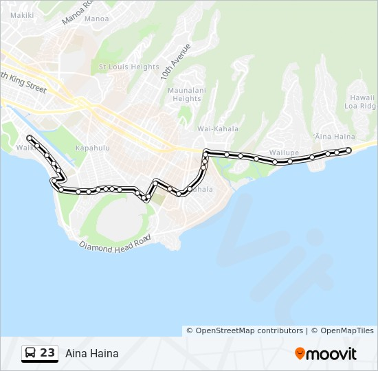 the bus hawaii map 23 Route Time Schedules Stops Maps Ala Moana Center Via