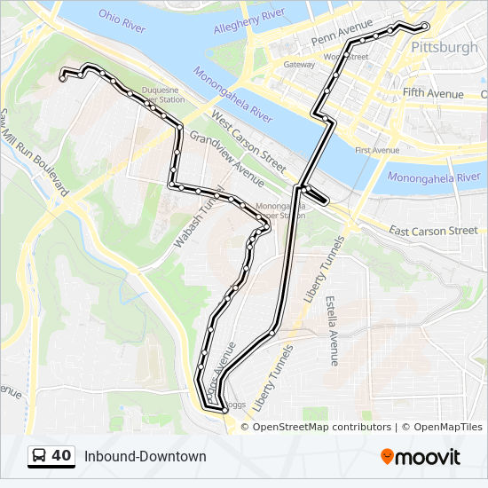 40 Route: Time Schedules, Stops & Maps - Inbound-Mount Washington To on