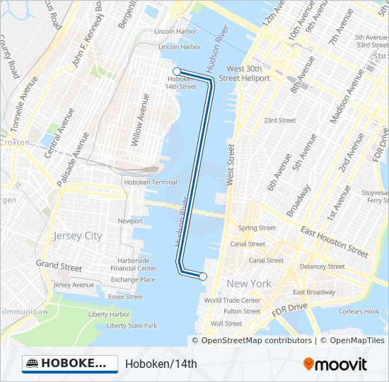 Map Of New York Waterways.Hoboken Wtc Route Time Schedules Stops Maps Hoboken 14th