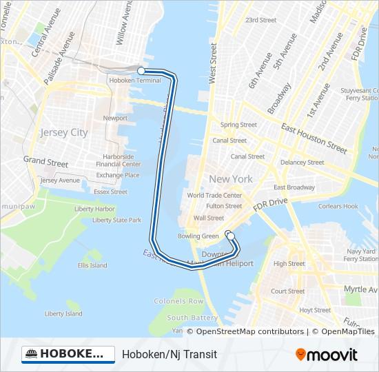 Map Of New York Waterways.Hoboken Wall St Route Time Schedules Stops Maps Hoboken Nj