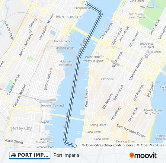 Map Of New York Waterways.Port Imperial Wtc Route Time Schedules Stops Maps World