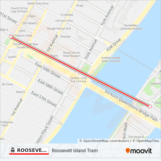 ROOSEVELT ISLAND TRAM cable car Line Map