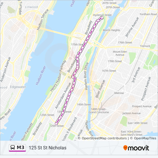 Map Of M3 M3 Route: Time Schedules, Stops & Maps   125 St St Nicholas