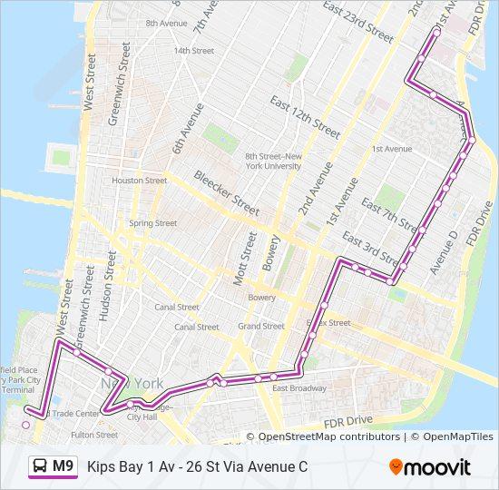 M9 Route Time Schedules Stops Amp Maps Kips Bay 1 Av