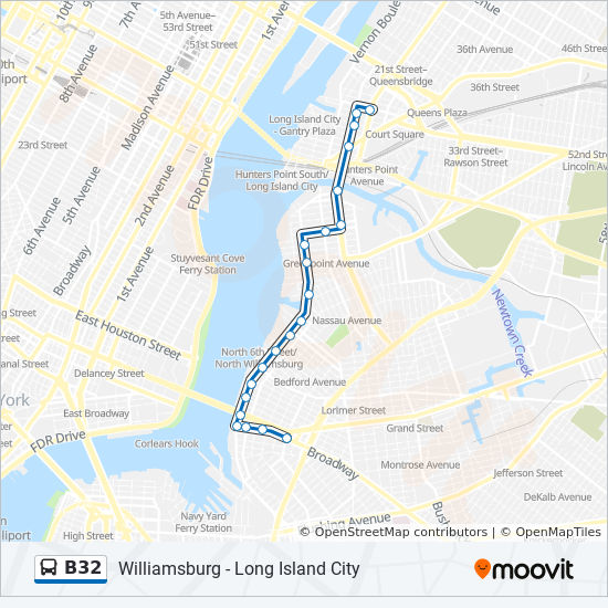 B32 Route Time Schedules Stops Amp Maps Long Island City
