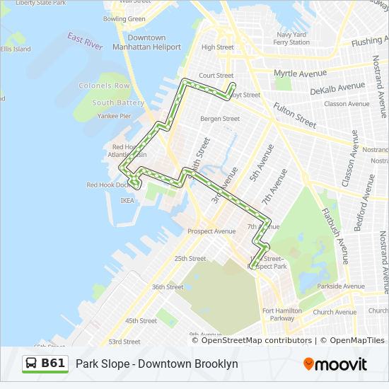 B61 Route Time Schedules Stops Amp Maps Park Slope 20 St