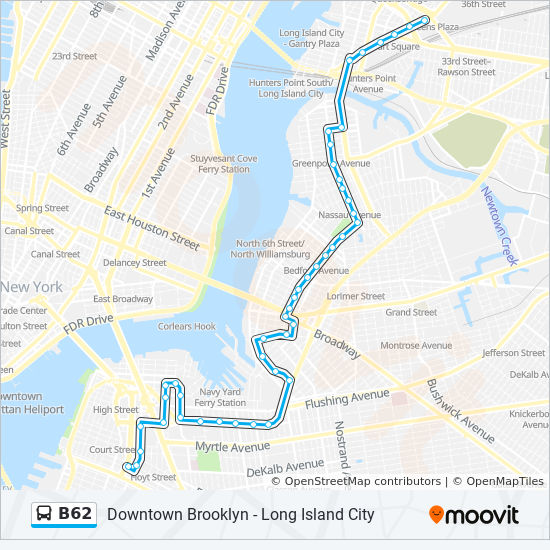 B62 Route Time Schedules Stops Amp Maps Downtown Bklyn