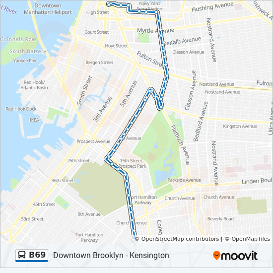B69 Route: Time Schedules, Stops & Maps - Downtown Bklyn