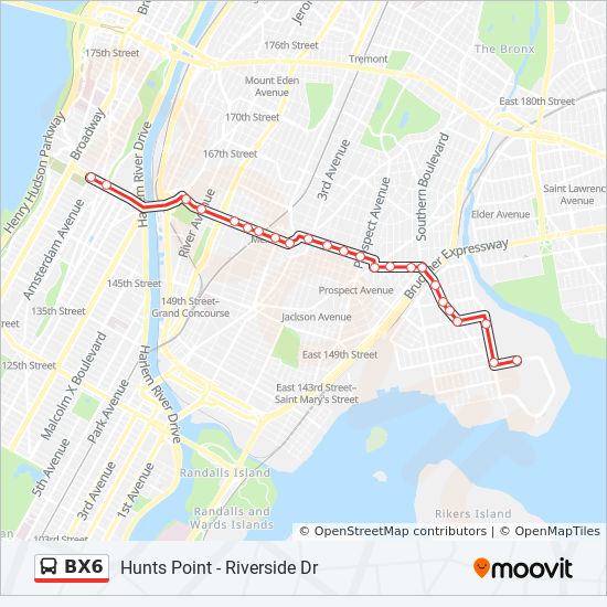 Bx6 Route Time Schedules Stops Amp Maps