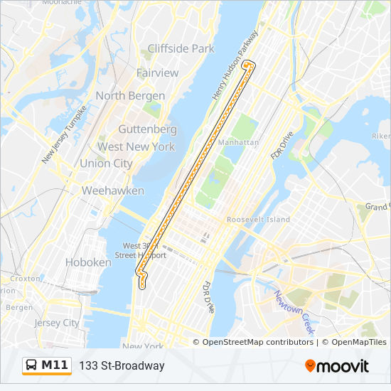 M11 Bus Map M11 Route: Time Schedules, Stops & Maps   133 St Broadway
