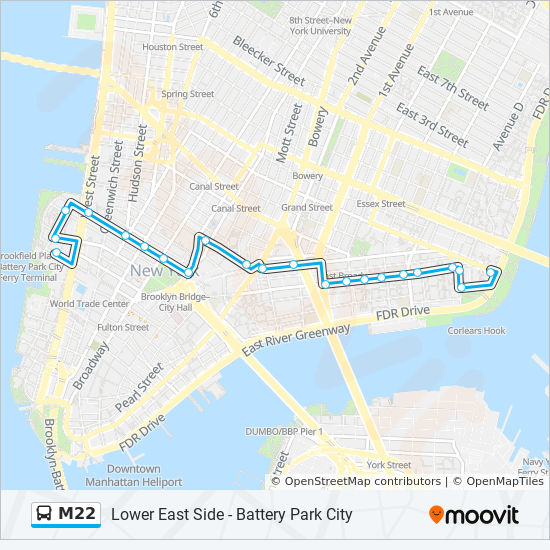 M22 Route Time Schedules Stops Amp Maps Battery Pk Cty