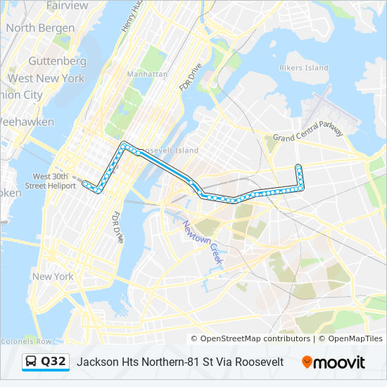 Q32 Route Time Schedules Stops Amp Maps Jackson Hts Northern 81 Via Roosvlt