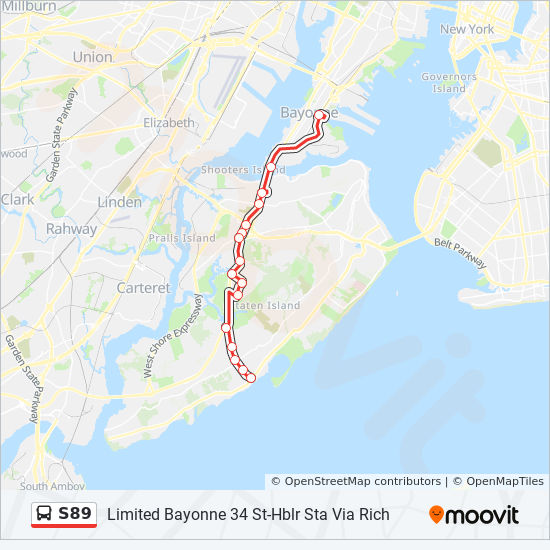S89 Route Time Schedules Stops Amp Maps Ltd Bayonne 34