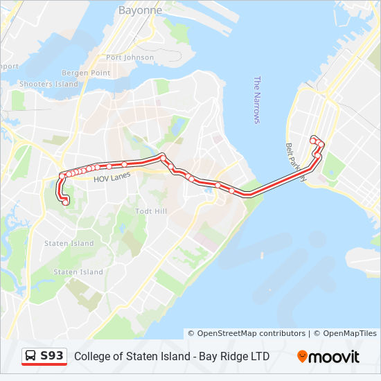 S93 Route: Time Schedules, Stops & Maps - Limited Bay Ridge ... on staten island college map, staten island new york map, staten island zip code map,