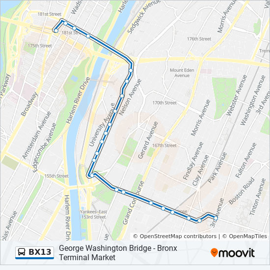 Bx13 Route Time Schedules Stops Amp Maps 3 Av