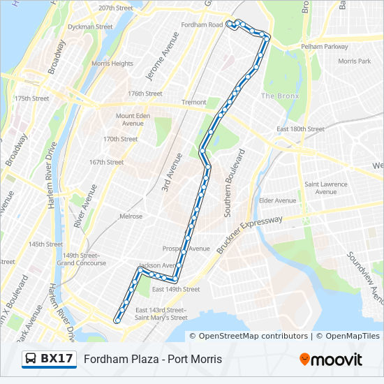 Bx17 Route Time Schedules Stops Amp Maps Fordham Plz
