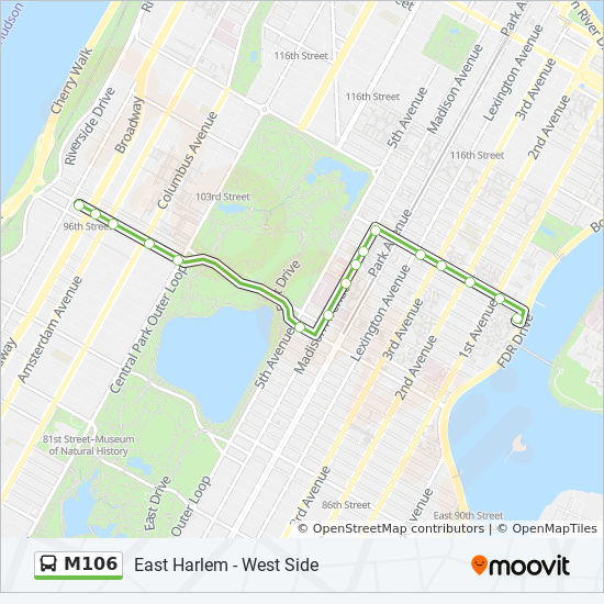 M106 Route Time Schedules Stops Maps E Harlem Fdr Dr Crosstown