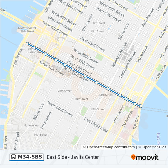 M34-SBS Route: Time Schedules, Stops & Maps