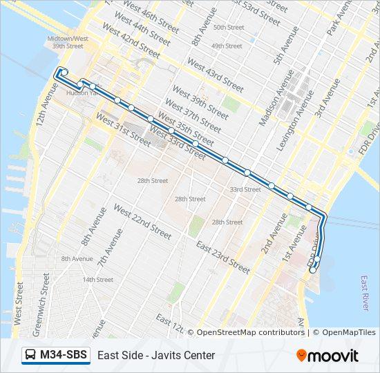M34-SBS Route: Time Schedules, Stops & Maps - Javits Ctr 12 Av Crosstown