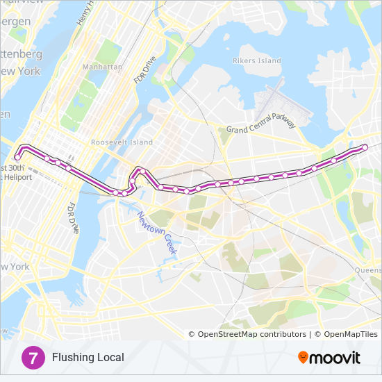 Number 7 Subway Map.7 Route Time Schedules Stops Maps Manhattan