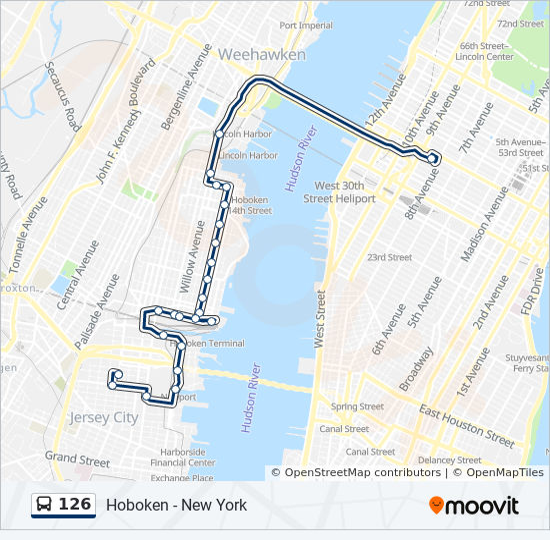 126 bus Line Map