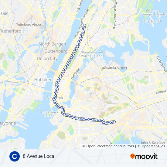 Alternative Nyc Subway Map.C Route Time Schedules Stops Maps Uptown