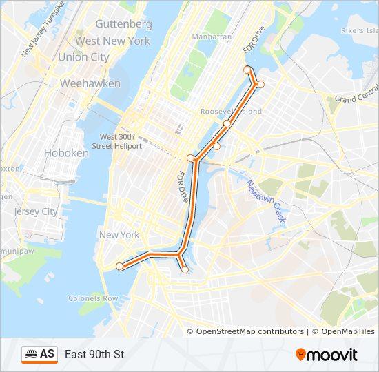 Rota da linha AS: horários, estações e mapas - Astoria
