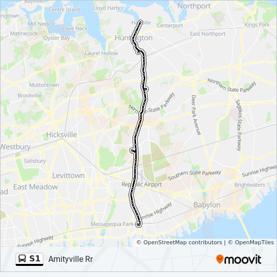 Amityville New York Map.S1 Route Time Schedules Stops Maps Amityville Railroad