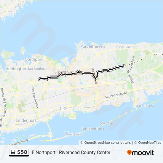 S58 Route: Time Schedules, Stops & Maps - Middle Island King