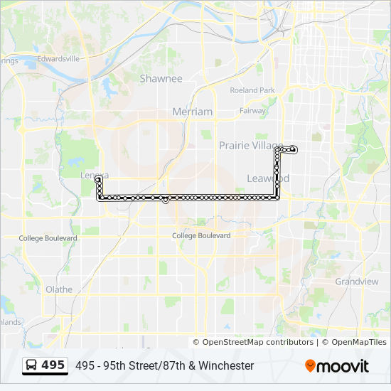 Leawood Kansas Map.495 Route Time Schedules Stops Maps 495 95th Street 87th