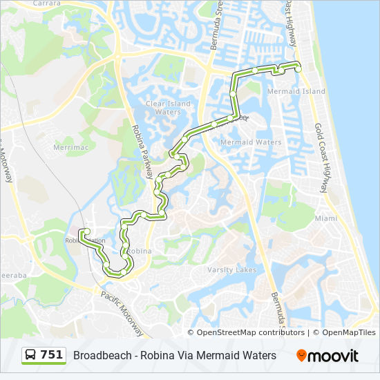 751 Route Time Schedules Stops Amp Maps Robina Station