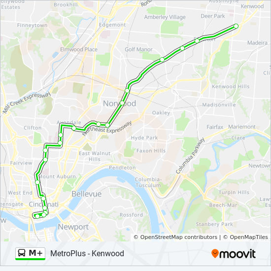 M Route Time Schedules Stops Amp Maps Metroplus Kenwood