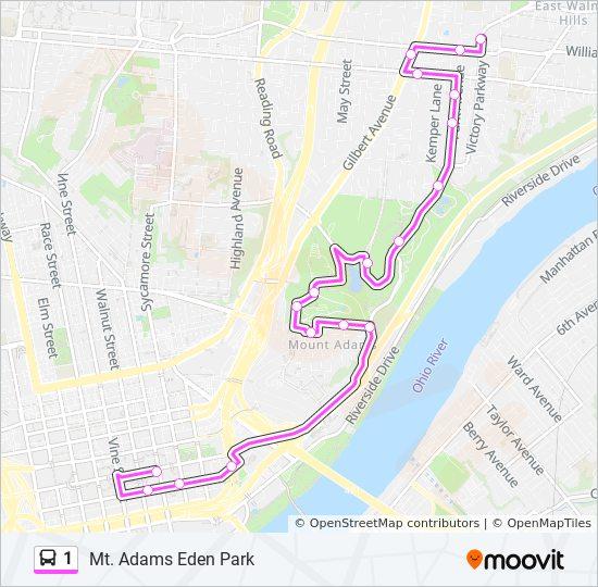 Mt Adams Washington Map.1 Route Time Schedules Stops Maps 1 Eden Park Mt Adams