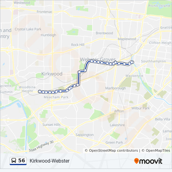 56 Route: Time Schedules, Stops & Maps - To Shrewsbury I-44 Tc on raytown map, st. louis city map, wildwood missouri map, clayton map, kirksville map, greenville map,