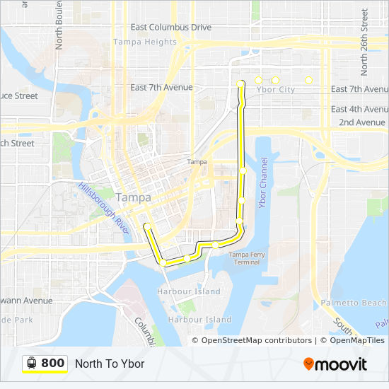 800 Route: Time Schedules, Stops & Maps - North To Ybor on ybor district map, ybor city walking map, ybor city things to do, ybor city trolley map,