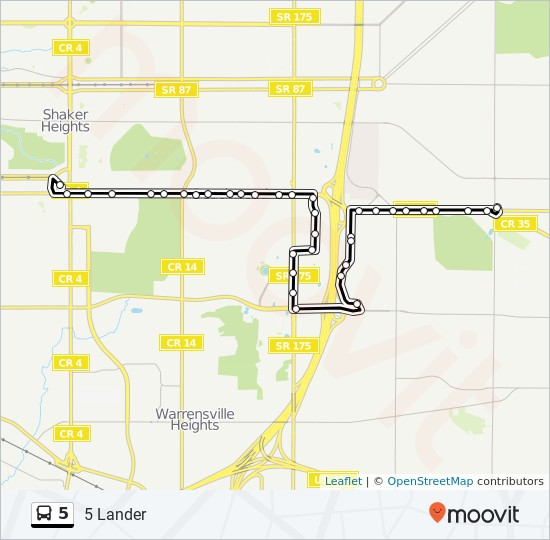 5 Route: Time Schedules, Stops & Maps - 5 Lander