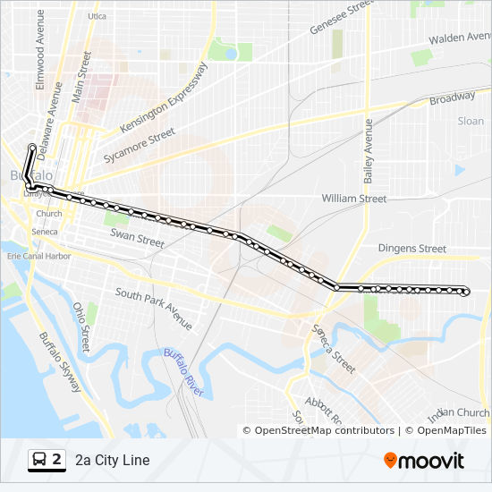 2 Route Time Schedules Stops Amp Maps 2a City Line