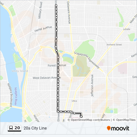20 Route Time Schedules Stops Amp Maps 20a City Line