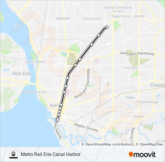 Buffalo Subway Map.Metro Rail Route Time Schedules Stops Maps Metro Rail Erie
