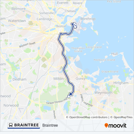 BRAINTREE Route: Time Schedules, Stops & Maps - Logan Airport