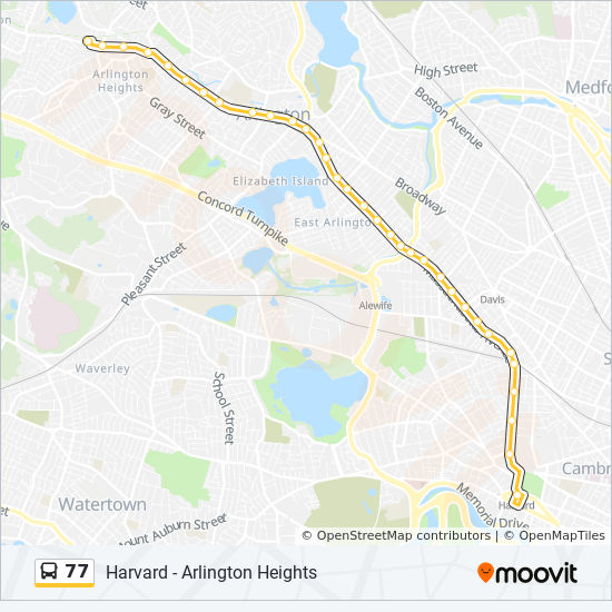 77 Route Time Schedules Stops Amp Maps Harvard