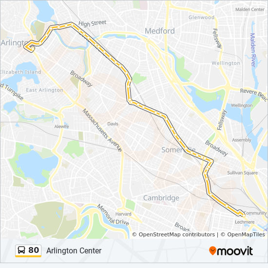 80 Route Time Schedules Stops Amp Maps Arlington Center